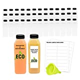Recycled Eco Friendly PET Plastic Bottles and Caps, 35 Containers and Lids 16 oz Reusable Disposable Bulk Drink Bottle (Black, 16 oz)