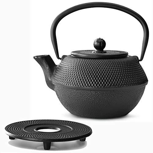 Bredemeijer Zwarte Asia theepot gietijzeren set 1,1 liter met thee-filterzeef en gietijzeren onderzetters