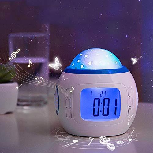 DKEE Pantalla LED Estudiantes Reloj Romántico Cielo Estrellado Colorido Alarma De La Proyección De La Moda Dormitorio Despertador Creativo De Cabecera Luminosos De Los Niños Reloj
