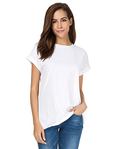MOQUEEN Womens Short Sleeve Loose Fitting T Shirts Cotton Casual Top, White, Large/US 10