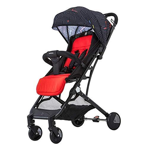 Carros de bebé Carrito de bebé Ultraligero Portátil Simple Plegable para niños Paraguas de bolsillo Mentir Carro de bebé, 26x44x100cm (Color : Red)