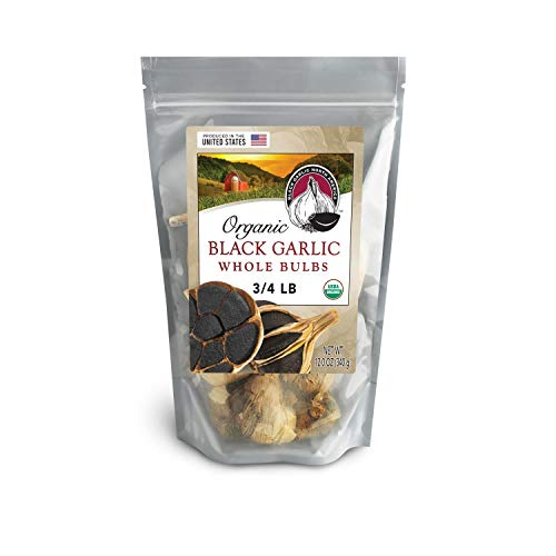 Black Garlic Organic American Whole Bulbs (Large 3/4 Pound Bag)...Aged and Fermented 120 Days