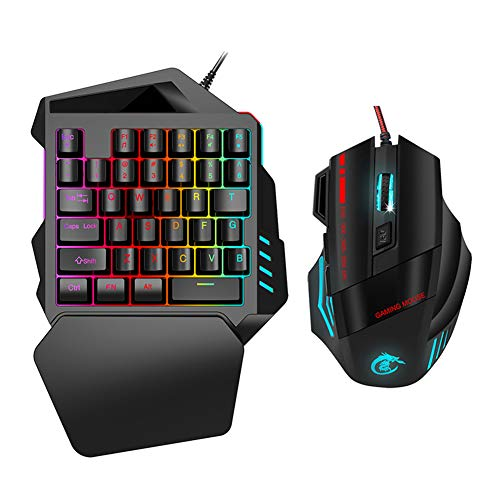 M ugast Gaming Mouse Keyboard Combo,One‑Handed Ergonomic Computer Game Keyboard,Nylon Corded Mouse with 5 Adjustable DPIs,LED Color Backlight,for Windows 7/8/10/2000/XP/Vista