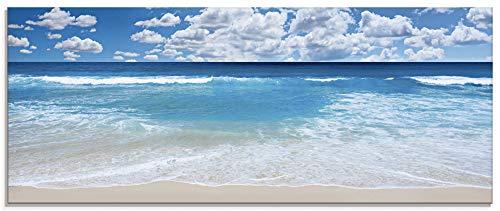 Artland Glasbilder Wandbild Glas Bild einteilig 125x50 cm Querformat Strand Meer Sommer Karibik Südsee Urlaub Natur Sand Himmel Wolken T8KG