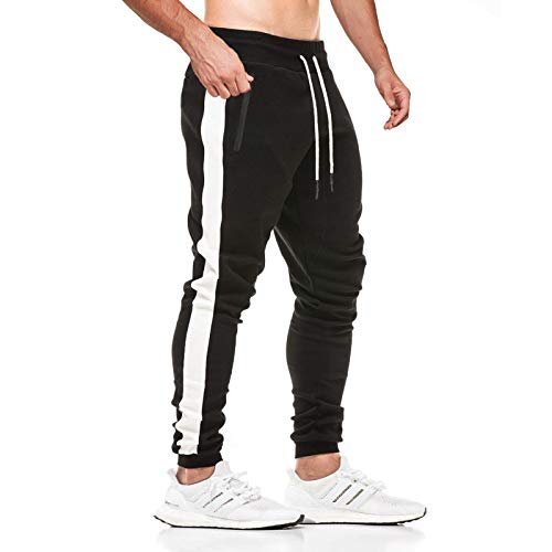 JustSun Pantaloni Tuta Uomo Pantaloni Sportivi Uomo Cotone Leggero Pantaloni Fitness Palestra Uomo Pantalone Allenamento con Tasche Zip Nero M