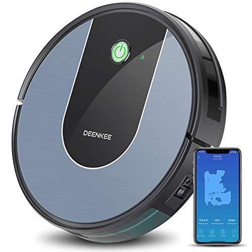 Aspirateur Robot Laveur, Connecté Wi-Fi et Alexa, Deenkee Robot Autonome Super Fin Silencieux avec Forte Puissance d'Aspiration,Navigation Intelligente, Parfaite pour Poils d'Animaux, Sol Dur, Tapis