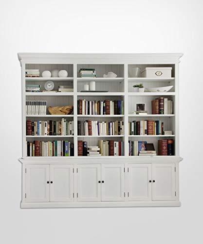 Dynamic24 Bücherregal Halifax Regal Wandregal Holzregal Wohnzimmerregal weiß Landhaus