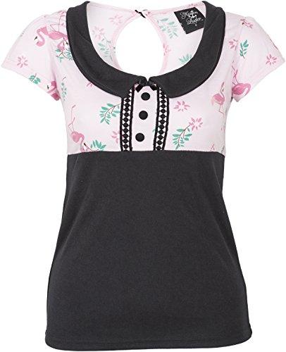 Küstenluder Damen Oberteil Sinija Flamingo Blumen Shirt Schwarz M