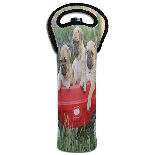 Rode Wijn Sets Rode Auto Knuffel Hond Beschermende Champagne Tas Fles Houder Tas Geïsoleerde Gewatteerde