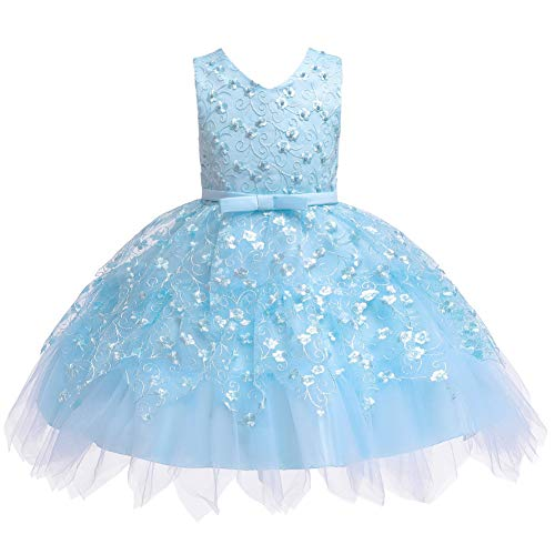 COMISARA Toddler Baby Flower Girl Dress Little Kids Birthday Prom Pageant Wedding Bridesmaid Party Performance Fancy Formal Princess Ball Gown Dresses Size 6M (Blue 80)
