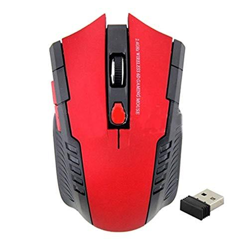 KaariFirefly - Mouse wireless da 2,4 GHz, mini mouse ottico portatile wireless da ufficio, con ricevitore USB, per PC, laptop, colore: rosso