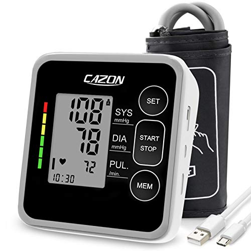 CAZON Blood Pressure Monitor Upper Arm BP Cuff Machine Pulse Rate Monitor for Home Use