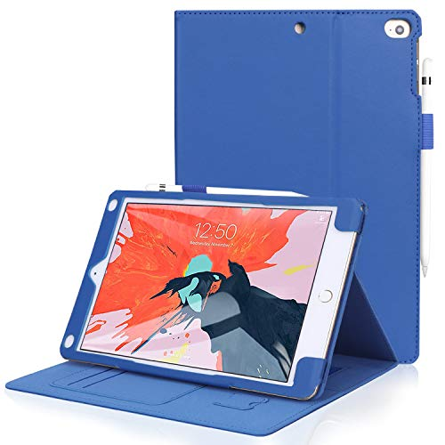 FYY Leather Case with Apple Pencil Holder for iPad Air 2/iPad Air/iPad 9.7 2017/2018 - Folio Flip Wallet Case Smart Cover with Hand Strap Card Slots for Apple iPad Air 2/Air/iPad 9.7 2017/2018 Navy