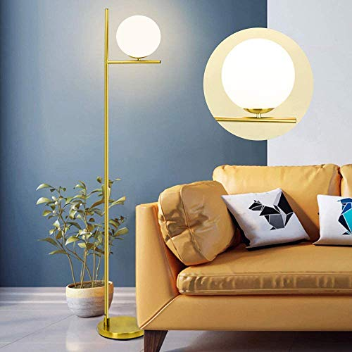 Depuley Gold LED Floor Lamp with Frosted Glass Globe,3000K Warm White, Modern Tall Pole Standing Light with E27 Holder, Reading Floor Lamps for Living Room Bedroom Office (Bulb Included)
