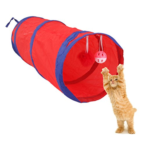 Tunel Gioco UP Gattino Gatto con 2 Animali Coniglio SOSPESO SOSPESO per attività Giocattolo - Rosso