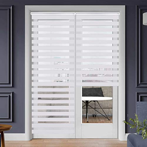 """SEEYE Zebra Shade Blinds Horizontal Window Curtain Day and Night Blind Dual Layer Shades Easy to Install 31.5"""" x 90"""", White"""