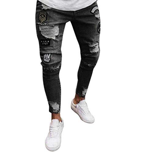 Broek Mens Jeans Vernietigd Broek Fit Mens Slim Modern Casual Jeans Vernietigd Zomer Broek Mens Joggers Jeans met Gaten Chern Zwarte Broek Mens Slim Fit Stretch Broek Mens