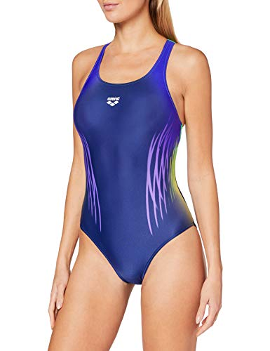 ARENA W Swim Pro Back One Piece Bañador Deportivo Mujer Multicolour Webs, Navy-Golf Green, 38