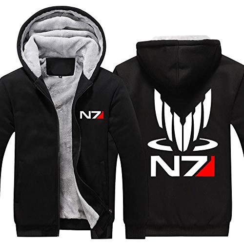 BINGFENG Hoodie Samtjacke - Mass Effect N7 Drucken Baseball Uniform - Männer Warm Beiläufige Sweatshirt Mit Reißverschluss Stitching Langarm Pullover Top -Teen Geschenk E-XL