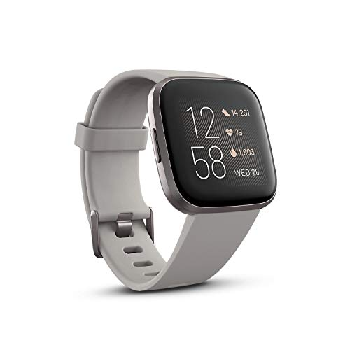Fitbit Versa 2 Health & Fitness Smartwatch with Heart Rate, Music, Alexa Built-in, Sleep & Swim Tracking-Stone/Mist Grey