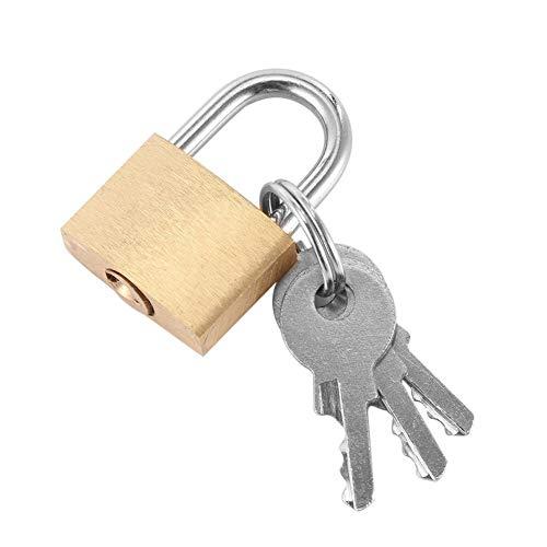 ZAOPP Equipaje Seguridad De Metal De Bloqueo del Candado De Oro Tono De Plata con 3 Llaves del Candado De La Caja Caja De La Cerradura Mini Cerraduras De Los Amantes Seguro del Bloqueo (Color : Gold)