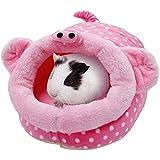 WangsCanis Nido per Animali Domestici Simpatico Cartone Animato a Forma di Animale Piccolo Cuccia per Animali Accessori per Gabbia Nido per Habitat per Criceto Riccio Porcellino d'India (Maiale, S)