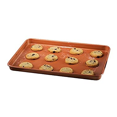 Gotham Steel Nonstick Copper Cookie Sheet and Jelly Roll Baking Pan 12  x 17  – 1 PACK