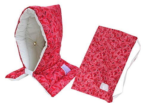防災ずきん専用カバー付 日本製(小学生から大人まで)Lサイズ 防災クッション(約30×46cm) (ペイズリー(レッド))