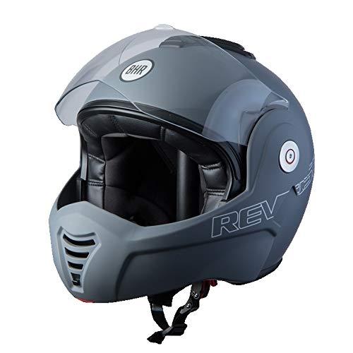 BHR Helmets 807 REVERSE Motorradhelm Unisex für Erwachsene, Grau Matt, XL
