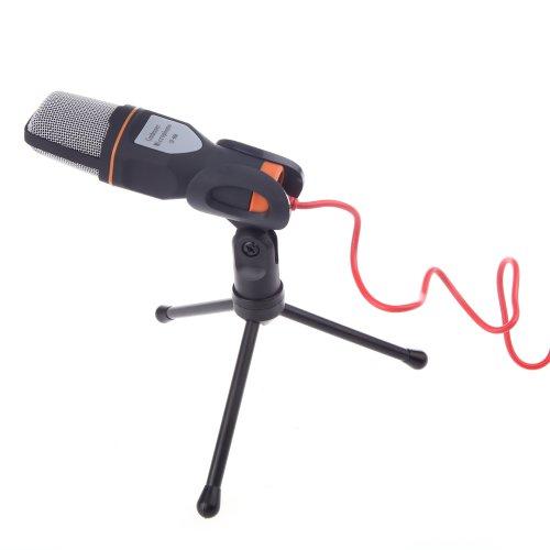 Andoer condensatormicrofoon, met clip-houder, om te spreken en te zingen, voor karaoke, laptop en pc, zwart