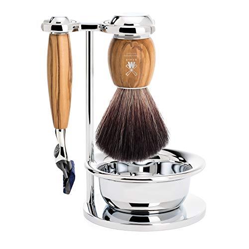 MÜHLE Vivo - Juego de 3 piezas para afeitar, fibra de color negro