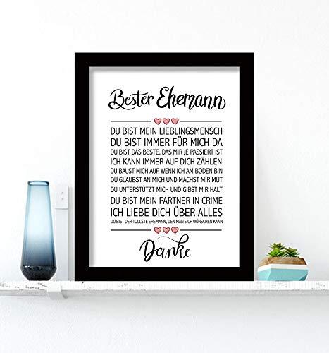 Close Up Bester Ehemann - Danke Zitate Poster - Deko Geschenk zum Geburtstag, Weihnachten, jeden Tag - 30 x 40 cm, Premium Qualität - mit schwarzem Rahmen