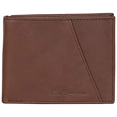 Ben Sherman Men's Slimfold Full-Grain Anti-Theft RFID Security ID Window, Smooth Marble Crunch Brown Leather, Tri-Fold Wallet