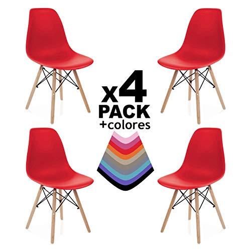 duehome - Nordik - Pack 4 sillas, Silla de Comedor, Salon, Cocina o Escritorio, Patas Madera de Haya, Dimensiones: 47 x 56 x 81 cm de Altura (Rojo)