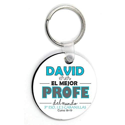 Kembilove Llaveros Personalizados Profesor con Nombre - Llaveros Impresos a 2 Caras para Maestros - Regalo Original para Profesores y Maestros Curso, Graduación - Eres el Mejor Profe Azul
