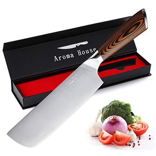 Aroma House Nakiri Kochmesser Küchenmesser 17.5 cm Allzweckmesser Deutscher Edelstahl Extra Scharfe Messerklinge mit ergonomischer Griff Exquisiter Geschenkverpackung