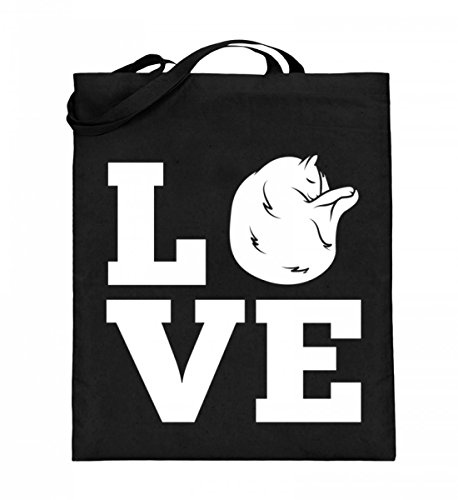 Chorchester Hochwertiger Jutebeutel (mit langen Henkeln) - Love - Für alle, die Katzen lieben!