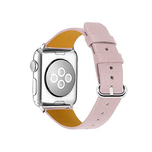 Fhony Correa de Repuesto de Cuero Compatible con Apple Watch 38mm 40mm 42mm 44mm Iwatch Serie SE/6/5/4/3/2/1 Correa de Cuero de Grano Superior Correa Correa de Piel Auténtica,Rosado,42/44mm