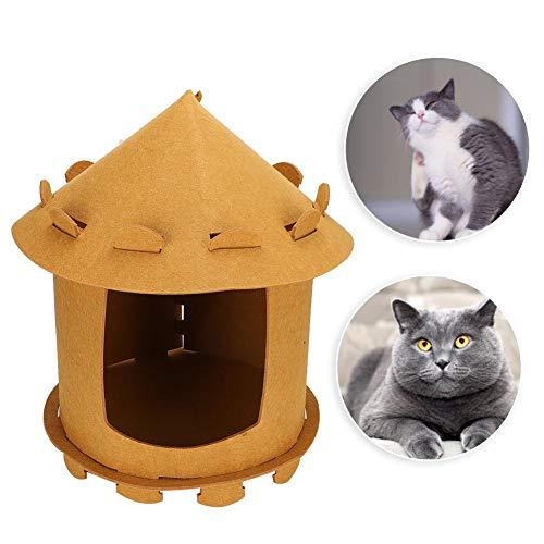 Jeanoko Tienda de campaña para Mascotas, Tipi para Mascotas, una casa para Que Las Mascotas duerman y jueguen, Tienda de campaña, Forma de yurta Mongol para Perros pequeños, Gatos(marrón)