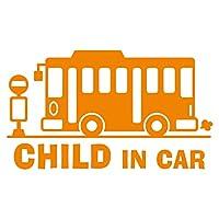 imoninn CHILD in car ステッカー 【シンプル版】 No.61 バス (オレンジ色)