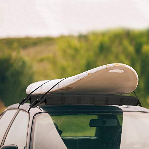 WOOWAVE Kayak Roof Rack Pads Universal Car Roof Rack Soft Premium Surf Crossbars Cross Bars for Surfboard SUP Paddleboard with 2 Waterproof Tie Down Straps and Portable Storage Bag, 33in Long (Pair)