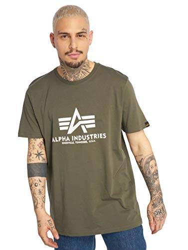 ALPHA INDUSTRIES Basic T-Shirt Camiseta, Dark Olive, L para Hombre