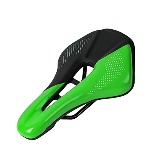 Sillín de bicicleta de acero para bicicleta de montaña, suave, para bicicleta de montaña, plegable, bicicleta de carretera, etc. (tamaño: 25,3 x 15 cm; color: negro + verde)