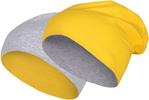 2 in 1 Wendemütze - Reversible Slouch Long Beanie Jersey Baumwolle elastisch Unisex Herren Damen Mütze Heather in 24 (8) (Light Grey/Yellow)