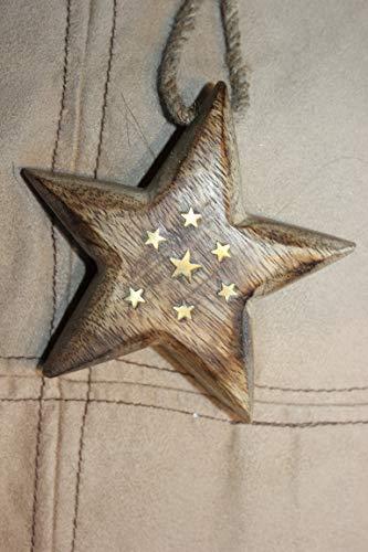 deetjen & meyer Holzstern z. Hängen massiv, geflammt, mit 7 Kleinen eingearbeiteten Sternchen, Durchmesser 11 cm