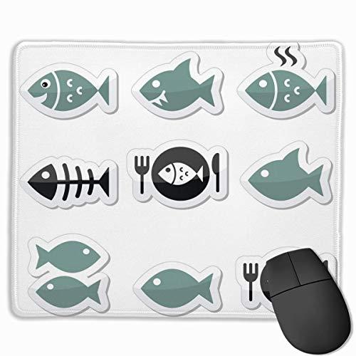 Fisch-Fisch-auf-Teller-Skelett-SymboleMaus-Pads bieten einzigartige personalisierte Geschenke-Maus-Pads