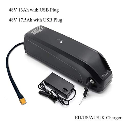 Fahrradbatterie Batterie mit USB-48V13Ah / 48V 17AH Elektro-Bike Downtube Akku mit Ladegerät, Schwarz harten Kunststoff für 250W ~1000W Motor, bis zu fünf Jahre der Lebensdauer der Batterie,48v17.5ah