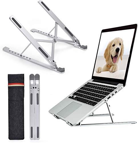 Soporte ajustable para computadora portátil de 8 niveles de altura, soporte universal de aleación de aluminio con ventilación, soporte de refrigeración portátil compatible con todos los ordenadores portátiles (hasta 17 pulgadas) - plateado