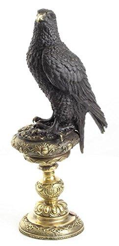 Casa Padrino Bronzefigur Adler Schwarz/Gold 13,3 x 18,9 x H. 42,6 cm Dekoration
