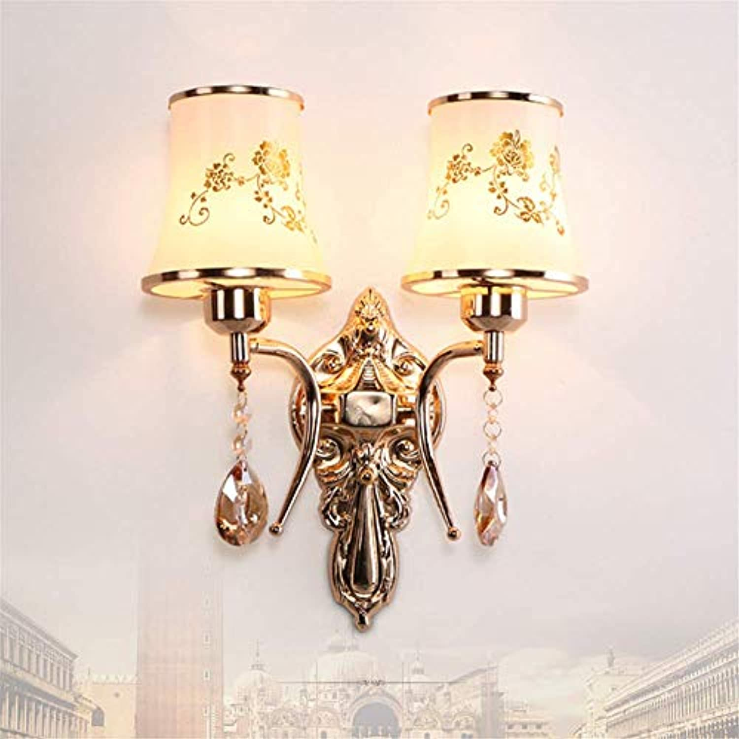 Wall lamp fashion wall lamp new modern living room wall lamp balcony creative warm wall lamp bedside lamp bedroom wall lamp 35  30cm,double head A,no light source